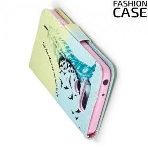 Чехол книжка для LG G6 H870DS - с рисунком Перо