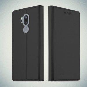 Чехол книжка для LG G7 ThinQ с магнитом и отделением для карты - Черный