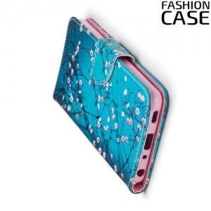 Чехол книжка для LG G7 ThinQ - с рисунком Сакура