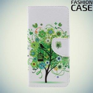 Чехол книжка для LG K10 2017 M250 - с рисунком Зеленое дерево счастья