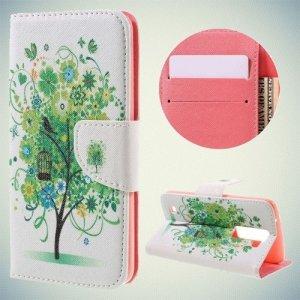 Чехол книжка для LG K8 K350E - с рисунком Дерево счастья