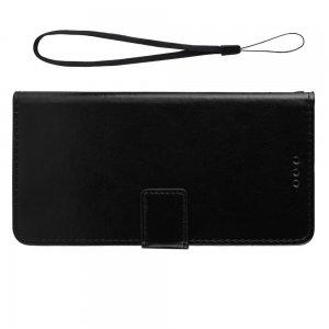 Чехол книжка для Meizu Note 9 с магнитом и отделением для карты - Черный