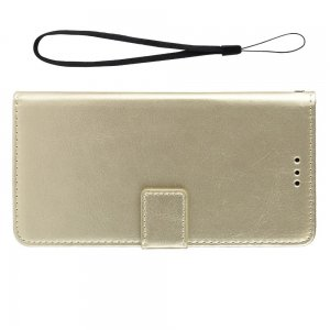 Чехол книжка для Meizu Note 9 с магнитом и отделением для карты - Золотой