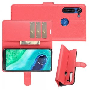 Чехол книжка для Motorola Moto G8 отделения для карт и подставка Красный