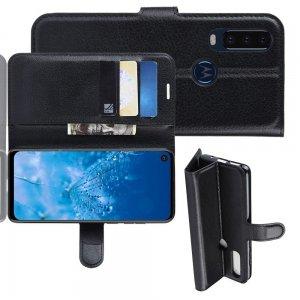 Чехол книжка для Motorola One Action отделения для карт и подставка Черный