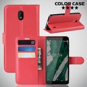 Чехол книжка для Nokia 1 Plus - Красный
