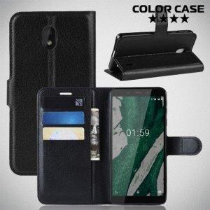 Чехол книжка для Nokia 1 Plus - Черный