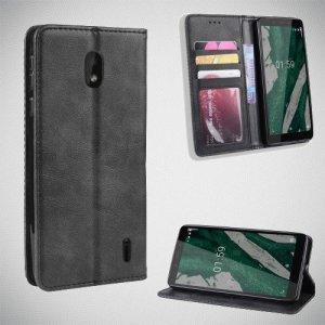 Чехол книжка для Nokia 1 Plus с магнитом и отделением для карты - Черный