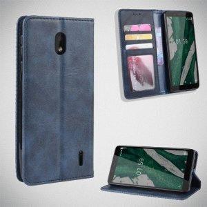 Чехол книжка для Nokia 1 Plus с магнитом и отделением для карты - Синий