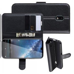 Чехол книжка для Nokia 2.2 отделения для карт и подставка Черный