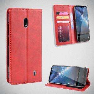 Чехол книжка для Nokia 2.2 с магнитом и отделением для карты - Красный