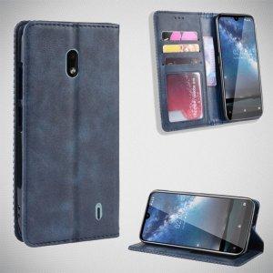 Чехол книжка для Nokia 2.2 с магнитом и отделением для карты - Синий