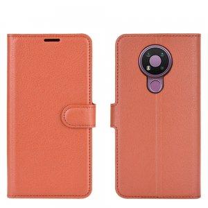 Чехол книжка для Nokia 3.4 отделения для карт и подставка Коричневый