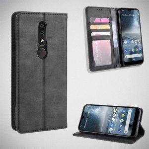 Чехол книжка для Nokia 4.2 с магнитом и отделением для карты - Черный