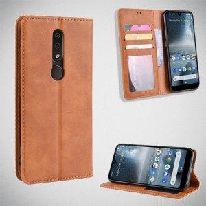 Чехол книжка для Nokia 4.2 с магнитом и отделением для карты - Коричневый