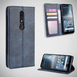 Чехол книжка для Nokia 4.2 с магнитом и отделением для карты - Синий