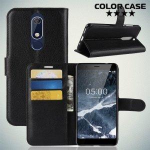 Чехол книжка для Nokia 5.1 2018 - Черный