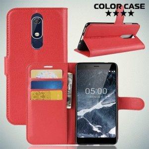 Чехол книжка для Nokia 5.1 2018 - Красный