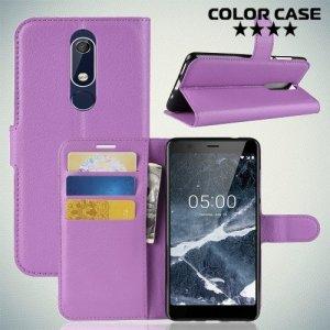 Чехол книжка для Nokia 5.1 2018 - Фиолетовый
