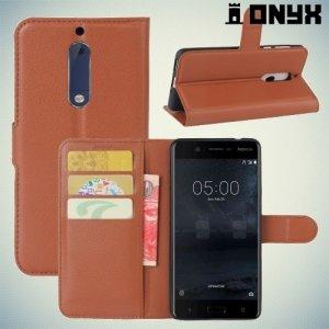 Чехол книжка для Nokia 5 - Коричневый