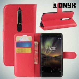 Чехол книжка для Nokia 6.1 - Красный