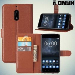 Чехол книжка для Nokia 6 - Коричневый
