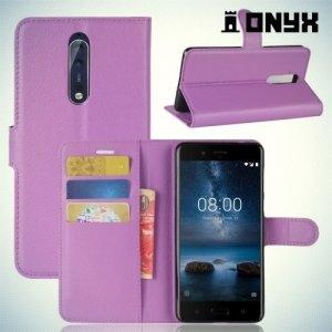 Чехол книжка для Nokia 8 - Фиолетовый