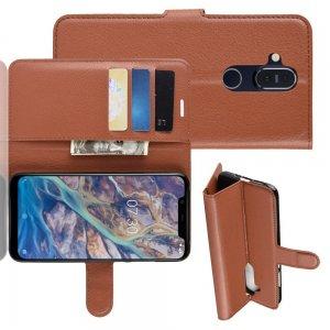 Чехол книжка для Nokia 8.1 отделения для карт и подставка Коричневый