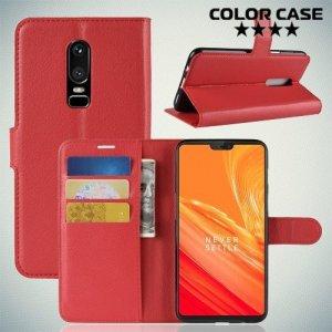 Чехол книжка для OnePlus 6 - Красный