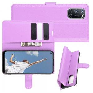 Чехол книжка для OPPO A52 / A72 отделения для карт и подставка Фиолетовый