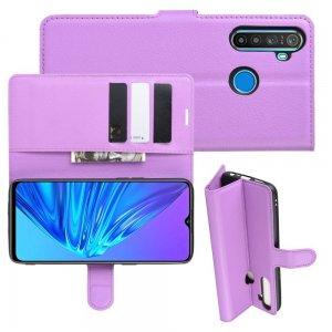 Чехол книжка для OPPO Realme 5 отделения для карт и подставка Фиолетовый