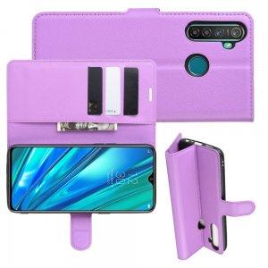 Чехол книжка для OPPO Realme 5 Pro отделения для карт и подставка Фиолетовый