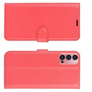 Чехол книжка для Oppo Reno4 Pro 5G отделения для карт и подставка Красный