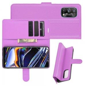 Чехол книжка для Realme 7 Pro отделения для карт и подставка Фиолетовый