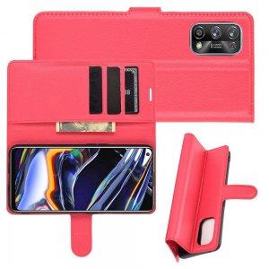 Чехол книжка для Realme 7 Pro отделения для карт и подставка Красный