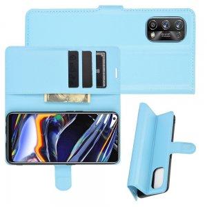 Чехол книжка для Realme 7 Pro отделения для карт и подставка Синий