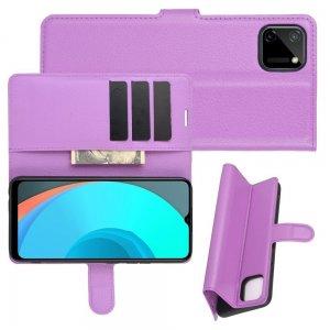 Чехол книжка для Realme C11 отделения для карт и подставка Фиолетовый
