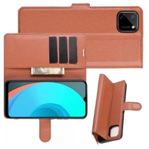 Чехол книжка для Realme C11 отделения для карт и подставка Коричневый