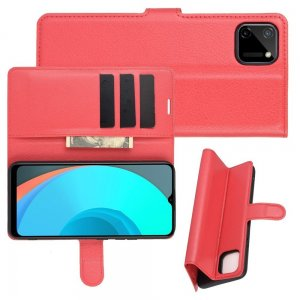 Чехол книжка для Realme C11 отделения для карт и подставка Красный