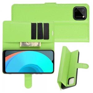Чехол книжка для Realme C11 отделения для карт и подставка Зеленый
