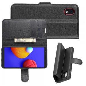 Чехол книжка для Samsung Galaxy A01 Core отделения для карт и подставка Черный