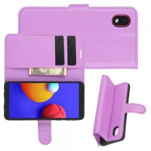 Чехол книжка для Samsung Galaxy A01 Core отделения для карт и подставка Фиолетовый