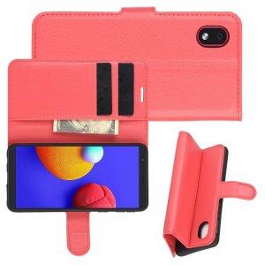 Чехол книжка для Samsung Galaxy A01 Core отделения для карт и подставка Красный