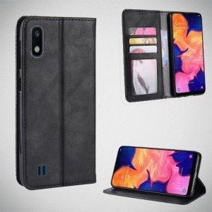 Чехол книжка для Samsung Galaxy A10 с магнитом и отделением для карты - Черный