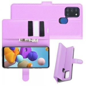 Чехол книжка для Samsung Galaxy A21s отделения для карт и подставка Фиолетовый