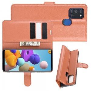 Чехол книжка для Samsung Galaxy A21s отделения для карт и подставка Коричневый