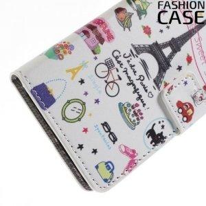 Чехол книжка для Samsung Galaxy A3 2016 SM-A310F - с рисунком эйфелева башня