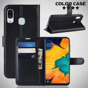 Чехол книжка для Samsung Galaxy A30 / A20 - Черный