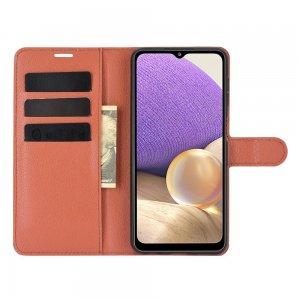 Чехол книжка для Samsung Galaxy A32 отделения для карт и подставка Коричневый