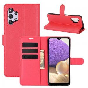 Чехол книжка для Samsung Galaxy A32 отделения для карт и подставка Красный